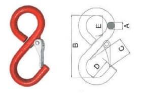 S-образный крюк с предохранителем и замкнутым концом