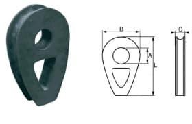 Коуши для стальных канатов, тип DIN 3091